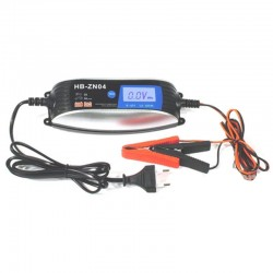 Global AT-4A okos automata akkutöltő digitális LCD kijelzővel, 6V-12V 4A, AC220V-240V 50/60Hz, 60W