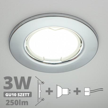 LED szpot szett: króm keret + 3 Wattos, természetes fehér GU10 LED lámpa + GU10 csatlakozó (kettesével rendelhető)
